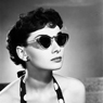Audrey Hepburn with sunglasses.